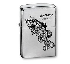 Зажигалка Zippo Classic Brushed Chrome 200 BLACK BASS