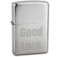 Зажигалка Zippo Brushed Chrome 200 Good Luck