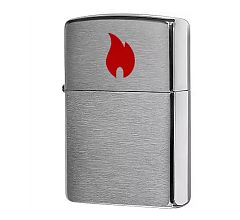 Зажигалка Zippo Classic Brushed Chrome 200 Red Flame