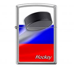 Зажигалка Zippo Classic Российский хоккей Brushed Chrome 200 RUSSIAN HOCKEY PUCK