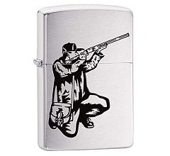 Зажигалка Zippo Classic Охотник Brushed Chrome 200 VECTOR RIFLE AND HUNT