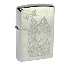 Зажигалка Zippo Classic Волк Brushed Chrome 200 Wolf