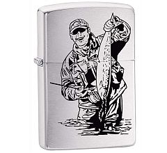 Зажигалка Zippo Classic Рыбак Brushed Chrome 200FISHERMAN