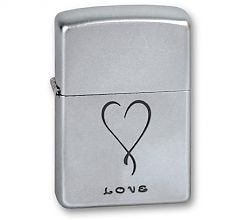 Зажигалка Zippo Classic Love Satin Chrome 205 LOVE