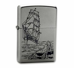 Зажигалка Zippo Classic Русалка Satin Chrome 205 Mermaid