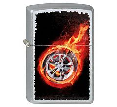 Зажигалка Zippo Шина в огне Satin Chrome 205 Tire On Fire