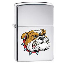 Зажигалка Zippo Classic Бульдог High Polish Chrome 250 MEAN DOG