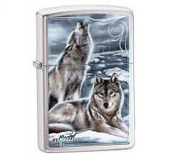 Зажигалка Zippo Classic by Mazzi Howling Wolves Brushed Chrome 28002