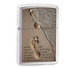 Зажигалка Zippo Classic Footprints in the Sand Brushed Chrome 28180