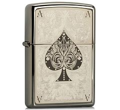 Зажигалка Zippo Classic Туз Ace Filigree Black Ice 28323