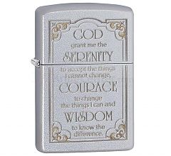 Зажигалка Zippo Classic Serenity Prayer Satin Chrome 28458