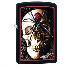 Зажигалка Zippo Spider and Skull by Mazzi Black Matte 28627