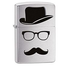 Зажигалка Zippo Classic Moustache and Hat Brushed Chrome 28648