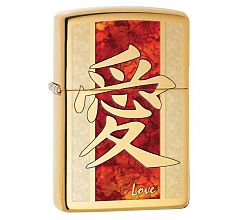 Зажигалка Zippo Hieroglyph Love High Polish Brass 28953
