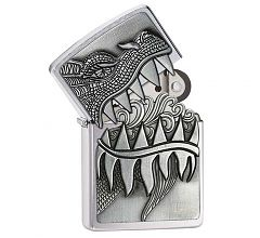 Зажигалка Zippo Classic Emblem Fire Breathing Dragon Brushed Chrome 28969