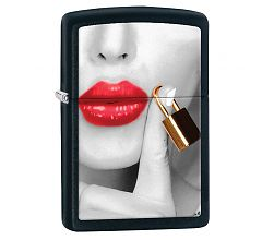 Зажигалка Zippo Classic Lock and Red Lips Black Matte 29089
