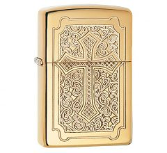 Зажигалка Zippo Armor Крест High Polish Brass 29436