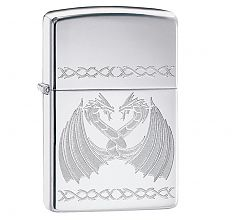 Зажигалка Zippo High Polish Chrome Dancing Dragons 29988