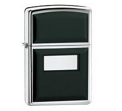 Зажигалка Zippo Classic Black Ultralite Emblem High Polish Chrome 355